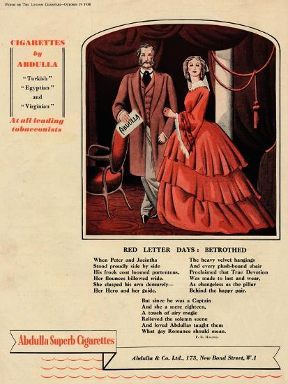 'Cigarettes by Abdulla - Red Letter Days: Betrothed', 1938-Unknown-Giclee Print