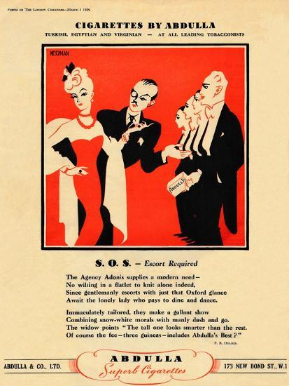 'Cigarettes by Abdulla - S.O.S. - Escort Required', 1939-Unknown-Giclee Print