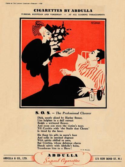 'Cigarettes by Abdulla - S.O.S. - The Professional Cheerer', 1939-Unknown-Giclee Print