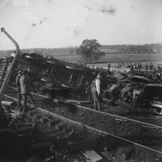 Cincinnati, Hamilton, and Dayton train wreck below Dayton in Ohio, USA,  c 1897-1901 Photographic Print by | Art com