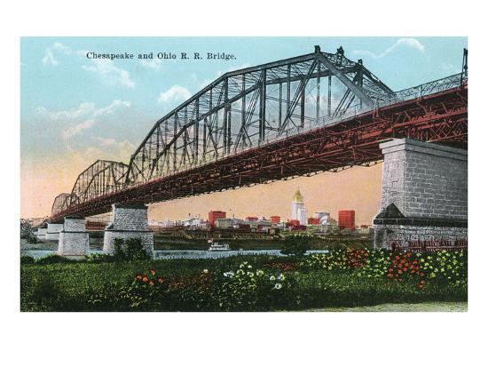 Cincinnati, Ohio - Chesapeake and Ohio Railroad Bridge Scene-Lantern Press-Art Print