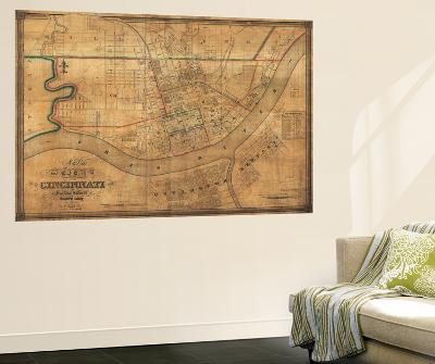 Cincinnati, Ohio - Panoramic Map-Lantern Press-Wall Mural