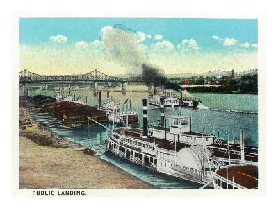 Cincinnati, Ohio - Public Boat Landing Scene-Lantern Press-Art Print