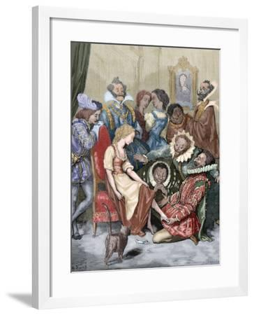 Cinderella, the Gentleman Putting the Slipper in His Tiny Foot, Saw That He Was Very Suitable--Framed Giclee Print