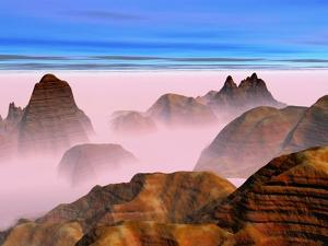 Mist over Rock Formations by Cindy Kassab