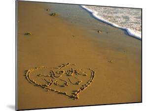 """Heart and """"Love You"""" Carved Into Beach Sand with Tid by Cindy Mcintyre"""