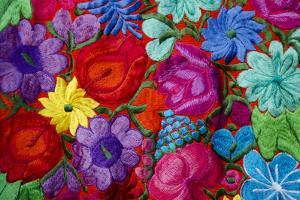 Belize, Placencia. Detail of Traditional Embroidery Floral Textile by Cindy Miller Hopkins