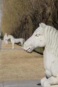 Carved Horse Statues, Changling Sacred Was, Beijing, China by Cindy Miller Hopkins