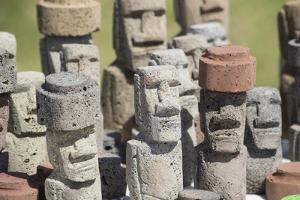 Chile, Easter Island. Carved Volcanic Stone Moi Figures by Cindy Miller Hopkins