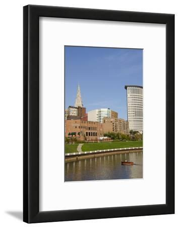 Cuyahoga River Skyline View of Downtown Cleveland, Ohio, USA