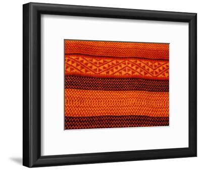 Detail of Handmade Orange and Black Wool Textile Blanket, Pisac Market, Peru