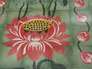 Detail of Temple Lotus Flower Tile Floor, Thai Buddhist Temple, Island of Penang, Malaysia by Cindy Miller Hopkins