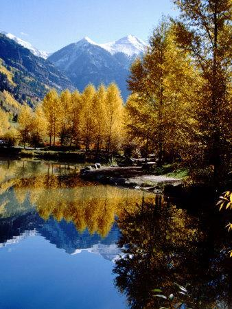 Fall Colors Reflected in Mountain Lake, Telluride, Colorado, USA