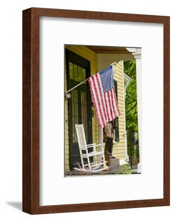 Historic Cooperstown House with Flag, Cooperstown, New York, USA