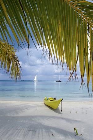 Kayak on White Sand Beach, Southwater Cay, Stann Creek, Belize