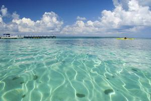 Kayaker in Blue Waters, Southwater Cay, Belize by Cindy Miller Hopkins