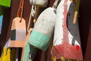Maine, Bar Harbor. Colorful Lobster Trap Buoys Hanging on Wall by Cindy Miller Hopkins