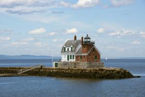 Maine, Rockland, Penobscot Bay. Historic Rockland Breakwater Light by Cindy Miller Hopkins