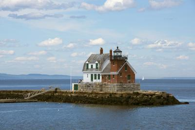 Maine, Rockland, Penobscot Bay. Historic Rockland Breakwater Light