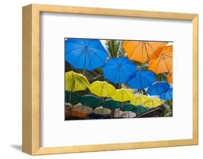 Mauritius, Port Louis, Caudan Waterfront Area with Umbrella Covering