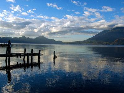 Morning on Lake Atitlan with Toliman Volcano, Panajachel, Solola, Western Highlands, Guatemala