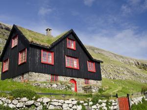 Old Farm House with Sod Roof, Kirkjubor Village, Faroe Islands, Denmark by Cindy Miller Hopkins