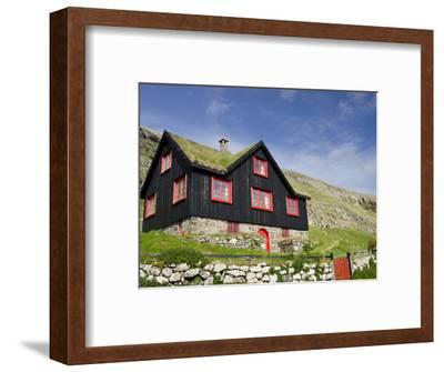 Old Farm House with Sod Roof, Kirkjubor Village, Faroe Islands, Denmark