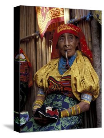 Old Woman with Pipe in Hand-Stitched Molas, Kuna Indian, San Blas Islands, Panama