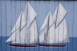 Painted Fence with Boat, H. Lee White Marine Museum, Oswego, New York, USA by Cindy Miller Hopkins