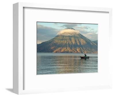 Reflections on Lake Atitlan with Fishing Boat, Panajachel, Western Highlands, Guatemala
