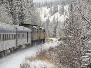 Via Rail Snow Train Between Edmonton & Jasper, Alberta, Canada by Cindy Miller Hopkins