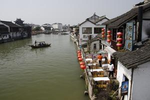 View of River Village with Boats, Zhujiajiao, Shanghai, China by Cindy Miller Hopkins