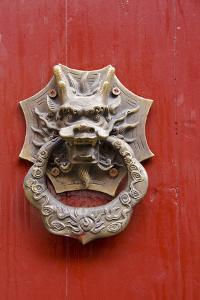Village Door with Ornate Dragon Knocker, Zhujiajiao, China by Cindy Miller Hopkins