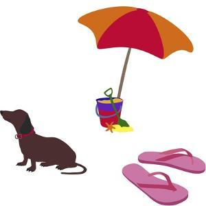 Fred With Beach Umbrella by Cindy Wider