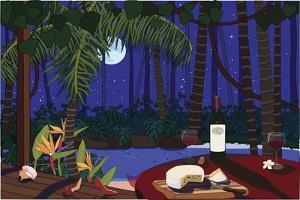 Red Wine And Cheese Under The Moonlight by Cindy Wider
