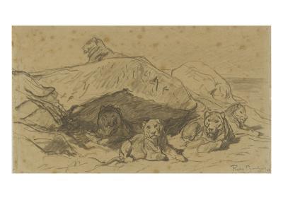 Cinq lions ou lionnes dans les rochers-Rosa Bonheur-Giclee Print