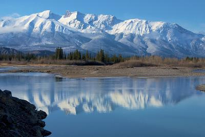 Cinquefoil Mountain Reflects in the Athabasca River, Jasper National Park, Canada-Richard Wright-Photographic Print