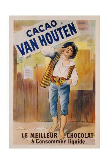Circa 1900 French Poster for Cacao Van Houten--Giclee Print
