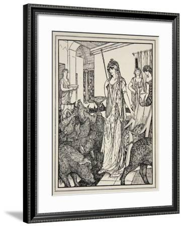 Circe Sends the Swine (The Companions of Ulysses) to the Styes, Frontispiece from 'Tales of the…-Henry Justice Ford-Framed Giclee Print