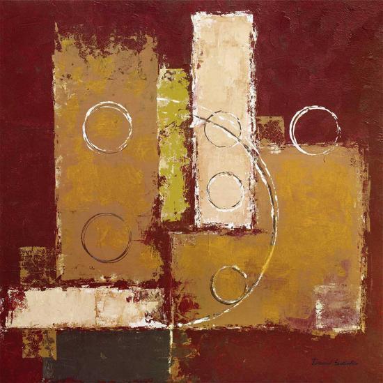 Circles on Red and Brown I-David Sedalia-Art Print