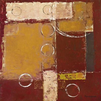 Circles on Red and Brown II-David Sedalia-Art Print