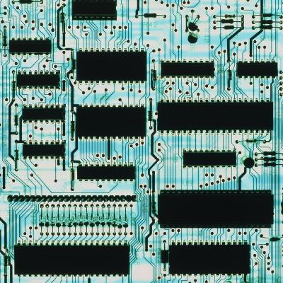 Circuit Board with Microprocessors, Etc.-PASIEKA-Photographic Print