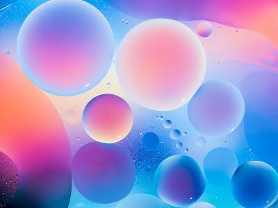 Circular Oild Drops on Water Surface with Colorful Bright Background- Abstract Oil Work-Photographic Print