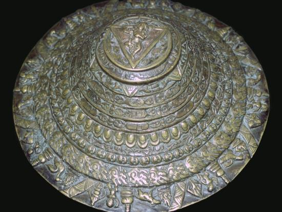 Circular plaque from Nepal with dancing figure, probably Chamunda. Artist: Unknown-Unknown-Photographic Print