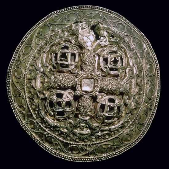 Circular Viking gold brooch from Denmark, 9th century. Artist: Unknown-Unknown-Giclee Print