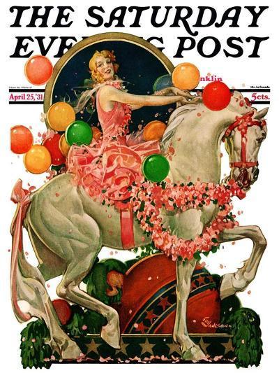 """Circus Bareback Rider,"" Saturday Evening Post Cover, April 25, 1931-Elbert Mcgran Jackson-Giclee Print"