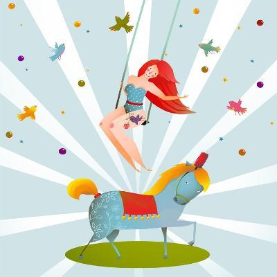 Circus Carnival Show Vintage Poster with Girl and Pony Horse. Fun and Cute Performance Vintage Cart-Popmarleo-Art Print