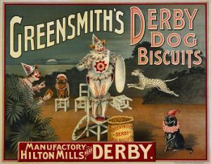 """Circus Dogs Advertising """"Greensmiths Derby"""" Dog Biscuits"""