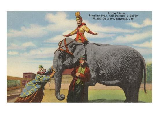 Circus Elephant and Clowns, Sarasota, Florida--Art Print