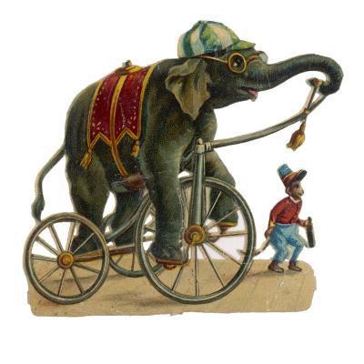 Circus Elephant and Monkey--Giclee Print